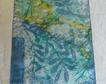Batik Silk Scarf Doves on Blue with Sunlight