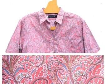 Cacharel Liberty Paisley Pink Art Deco 1970 s Fabulous summer Shirt