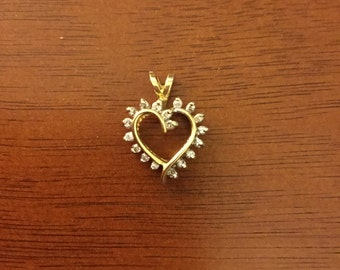 14k solid gold and diamond heart pendant