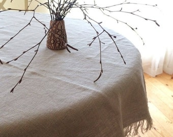 Natural Color Linen tablecloth, Square tablecloth, Rectangle tablecloth, Gray beige natural linen color tablecloth with fringes