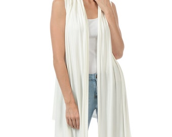 Sleeveless Asymmetrical Open Front Vest Ivory