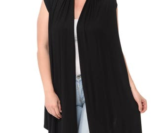 Asymmetric Open Front Vest Plus Size Black