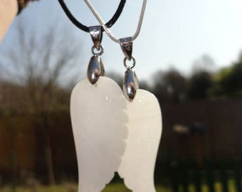 lot of 2 necklaces, white jade Angel Wings, for sisters, best friends, mother and daughter