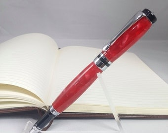 Classic Rollerball Pen with Black & Chrome Accents - Ruby Red Acrylic