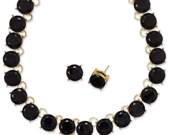 Midnight Beauty Necklace & Earring Set w/ Black Glass.