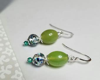 Greens & blues themed, lamp-worked glass bead earrings
