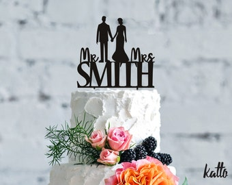 Customizable Mr & Mrs Smith Cake topper,Wedding Cake Topper,Mr and Mrs Cake Topper,Silhouette Cake Topper,Personalized wedding  Cake topper