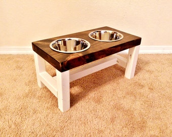 Dog Bowl Stand - Medium Dog Bowl Stand - Farmhouse Style - Rustic Dog Bowl Stand - Raised Dog Bowl - Elevated Dog Bowl - Raised Dog Feeder