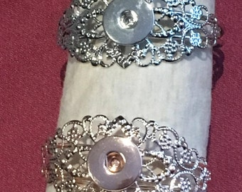 Silver or Rose Gold Lace cuff snap bracelet