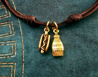 Hot Dog Necklace SMALL Mustard Necklace Food Jewelry Hotdog Charm Leather Necklace Brown Cord Necklace Men's Jewelry Boyfriend Necklace