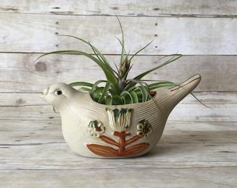 Vintage Ceramic Bird Planter - Boho Jungalow Style