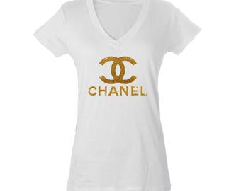 Chanel Inspired Printed Glitter Optional Graphic T Shirt or V Neck