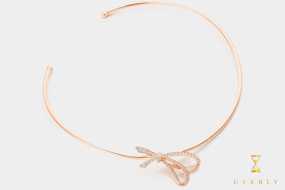 """18k Solid Yellow White Rose Gold Diamond 0.86ct Bow Women's Choker Necklace 16"""""""