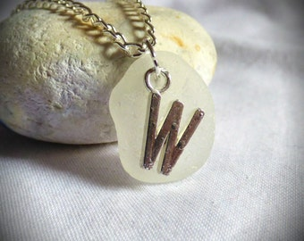 SALE 1/3 OFF - Initial W, Seaglass Pendant, Sea Glass Necklace, Customized Pendant, Necklace, Personalised Pendant, Personalized - PC17016