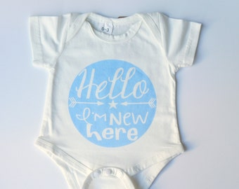 Hello I'm New Here Blue Baby Vest 0-3 Months, baby grow, baby onesie, baby gift, baby shower gift