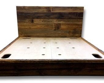 Reclaimed Wood Bed, Vented Platform Bed, Storage Bed, Queen Bed, Cottage Furniture, Bedroom Furniture, Bedroom Design, Handmade