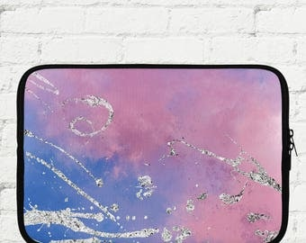 "Pink and Silver Glitter Marbled Laptop Sleeve 15"" - iPad Sleeve 10"" - Kindle iPad Mini Sleeve 8"" - Neoprene Sleeve with Zipper"