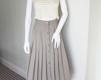 Pleated skirt, vintage preppy skirt, beige pleated skirt, pleated midi skirt, 90's skirt, 1990's clothes, secretary chic, geeky secretary,