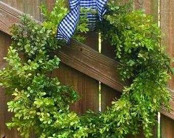 Spring Wreath-Boxwood Wreath-Front Door Wreath-Green Wreath-Farmhouse Wreath-Spring Decor-Everyday Wreath-Fixer Upper Wreath-Cottage Wreath