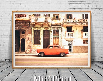 Cuba Photography, Havana Print, Cuban Art, Vintage Car Decor, Cuban Architecture, Cuba Travel Poster, Cuban Wall Decor, Fine Art Photography