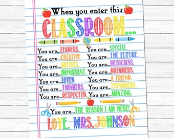 Teacher Gift, When you enter this classroom Print, Classroom Printable, Classroom Decor, Gift for Teacher, Digital Download, Thank you Gift