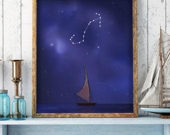Scorpio sign, Scorpio constellation, moana print, moana drawing, sky stars, disney print, zodiac sign, horoscope, printable art, artwork