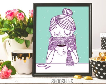 coffee girl, Tea Girl, coffee print, printable art, Tea poster, Tea illustration, drinking coffee, coffee illustration, inkart, Tea time