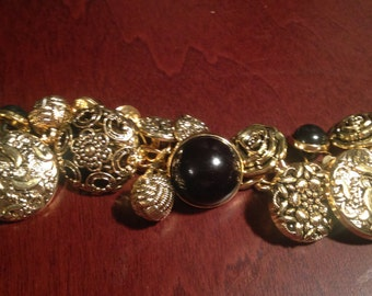 Gold & Black Button Charm Bracelet-- FREE SHIPPING