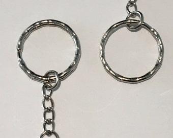 5/10/20 Bulk Key Chains, Key Rings, Round, Silver Tone 5.2cm x 2.5cm