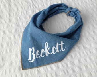 Personalized Denim Dog Bandana - Joey // Dog bandana // Personalized Bandana // Pet Bandana //  Denim Bandana // Summer Dog Bandana