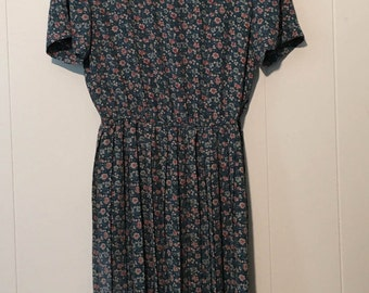 Vintage 1980s Leslie Fay Teal and Rose Floral Dress with Golden Buttons and Shoulder Accents
