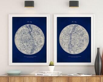 Northern Hemisphere Constellations Print Astronomy Gift