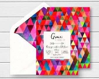 Bright Colourful Birthday Invites, Triangle Birthday Invitations, Multicolour Birthday Invites, Bright 30th Invites, Bright 21st Invitations