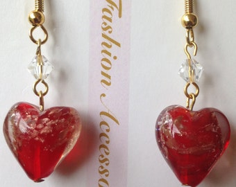 Swarovski crystal and red heart earrings