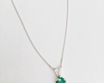 Raw emerald necklace, 925 sterling silver emerald pendant, raw emerald pendant, rough emerald necklace, natural emerald necklace