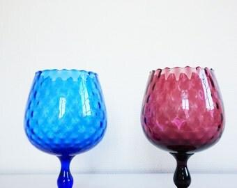 Two Italian glassworks Empoli glass vintage