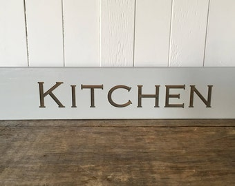 Kitchen, Rustic Wooden Sign, Farmhouse Home Decor, Laser Engraved
