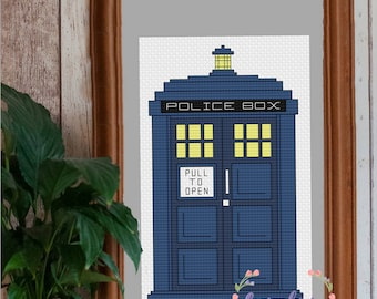 TARDIS Cross Stitch PDF Pattern | Instant Digital Download | Geek Cross Stitch | Doctor Who Cross Stitch Pattern