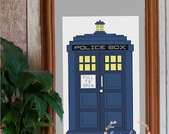 TARDIS Cross Stitch PDF Pattern   Instant Digital Download   Geek Cross Stitch   Doctor Who Cross Stitch Pattern