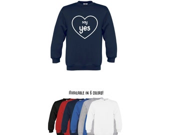 Kids proposal sweater, say yes sweater, engagement sweater, marriage proposal sweater, marriage sweater, marry me sweater, kid heart sweater
