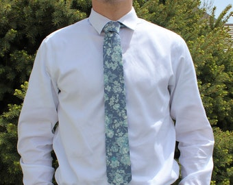 Dusty Blue Floral (NEW) tie and bow tie available!