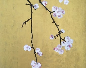 Original painting of cherry blossom on canvas board