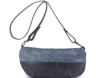 "Shoulder bag ""Zoe"" pigeon/ardoise clutch"