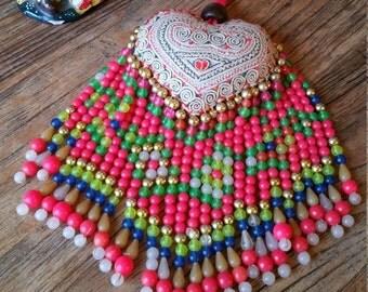 Large Size Heart Keyring, Beaded Heart Keyring, Textile Heart Keyring, Hmong Textile