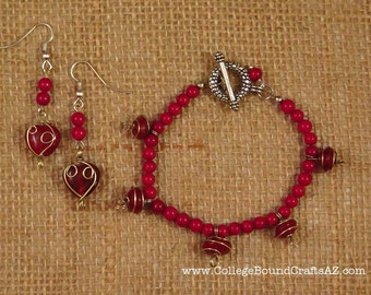 Ruby Red Wire Wrapped & Coral Beaded Bracelet and Earrings Set in Silver -- FREE SHIPPING!!!