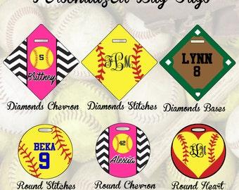 Personalized Softball Bag Tags, Bag Tag, Custom Bag Tag, Softball Bag Tag