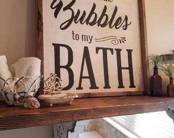 Hand Painted You are the bubbles to my bath framed sign. Bathroom decor perfect for a master, guest or kids bathroom.  Size18x18