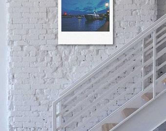 "Custom Polaroid Style Cotton Canvas Print with Copyright Photograph of London - ""River Night Walk"", 3 sizes available, Custom Home Decor"
