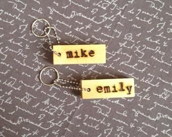 Custom Name Keychain Wood Keychain Personalized Gift