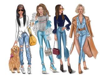 Group of 4 Custom Fashion Illustration